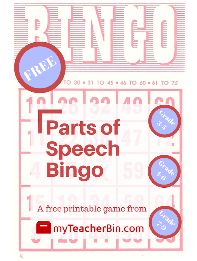 picture relating to 7th Grade Math Bingo Printable titled Areas of Speech Bingo - myTeacherBin