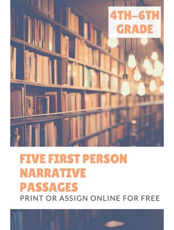Five 1st Person Narrative Reading Passages for Grades 4-6