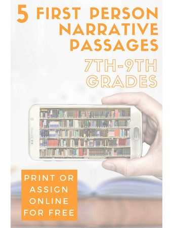Five 1st Person Narrative Reading Passages for Grades 7-9