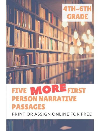 Five More 1st Person Narrative Reading Passages for Grades 4-6