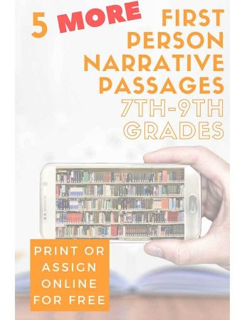 Five More 1st Person Narrative Reading Passages for Grades 7-9
